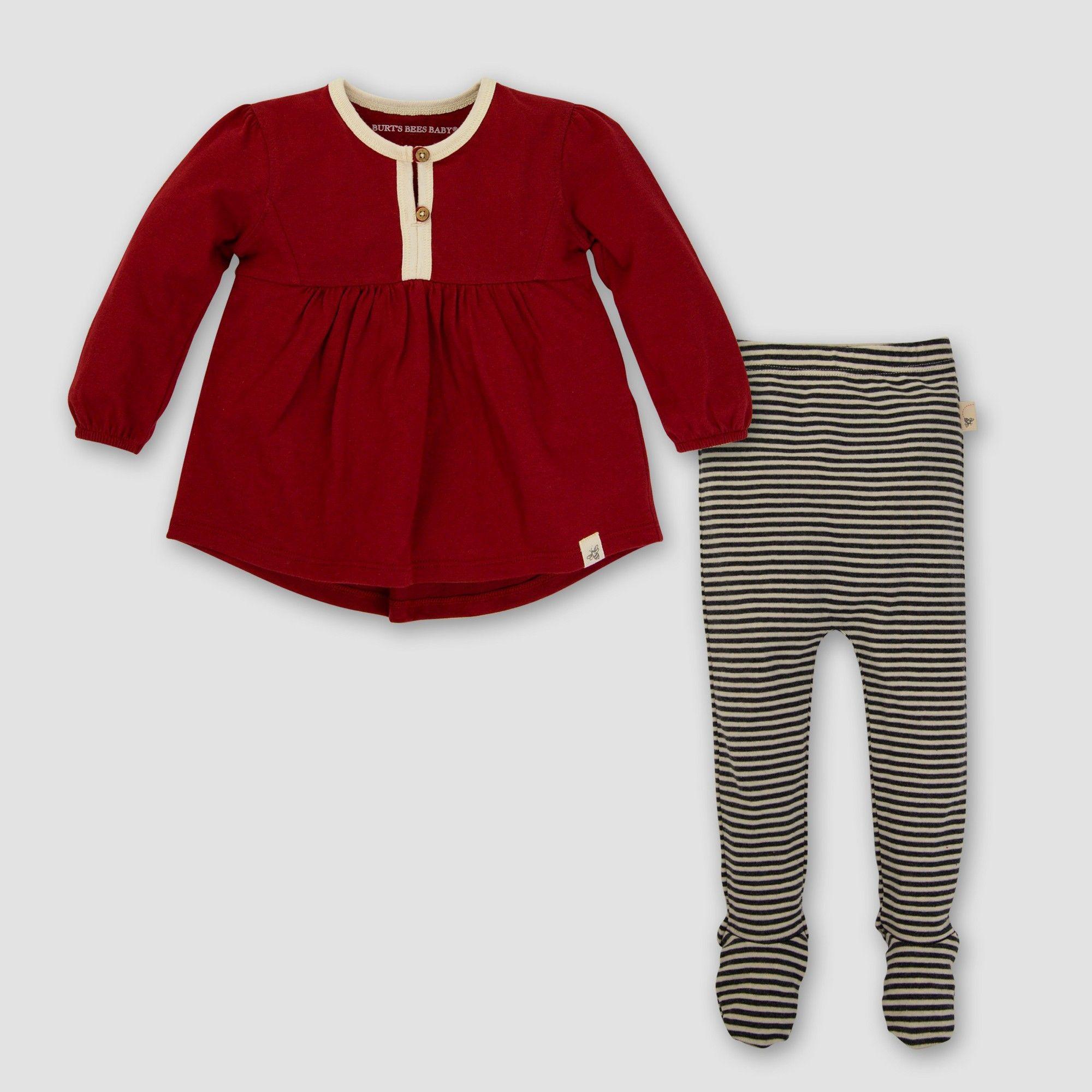 6b5e54b95 Burt s Bees Baby Girls  Organic Billowing Dress   Pant Set - Red 6 ...
