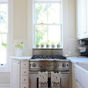 Stove Under Window Transitional Kitchen Valspar Cream In My Coffee Apartment Therapy Angled Cab To Finish Kitchen Wall Colors