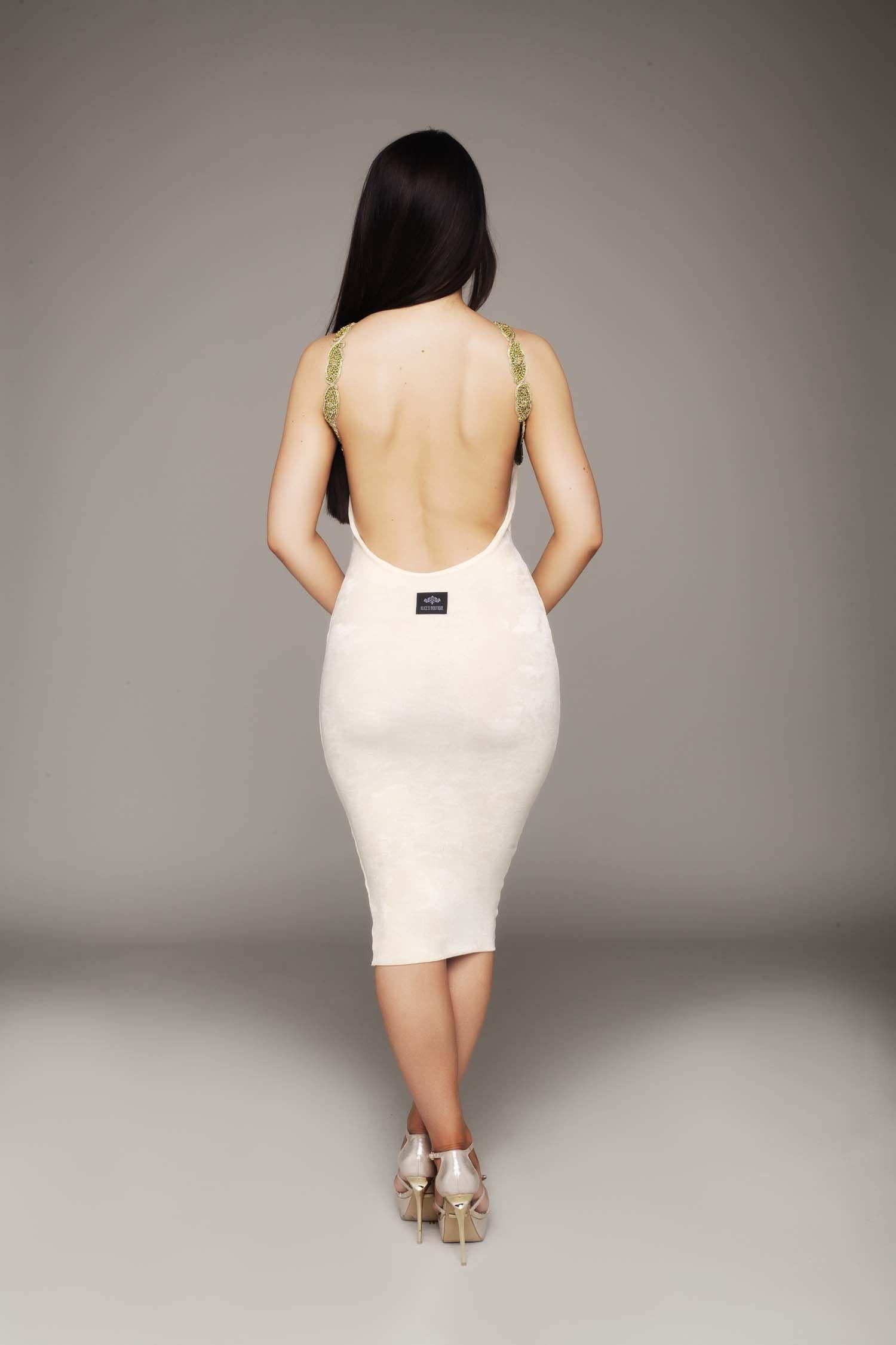 Black Backless Dress with Embellished Straps   Dresses   Miss Foxy ...