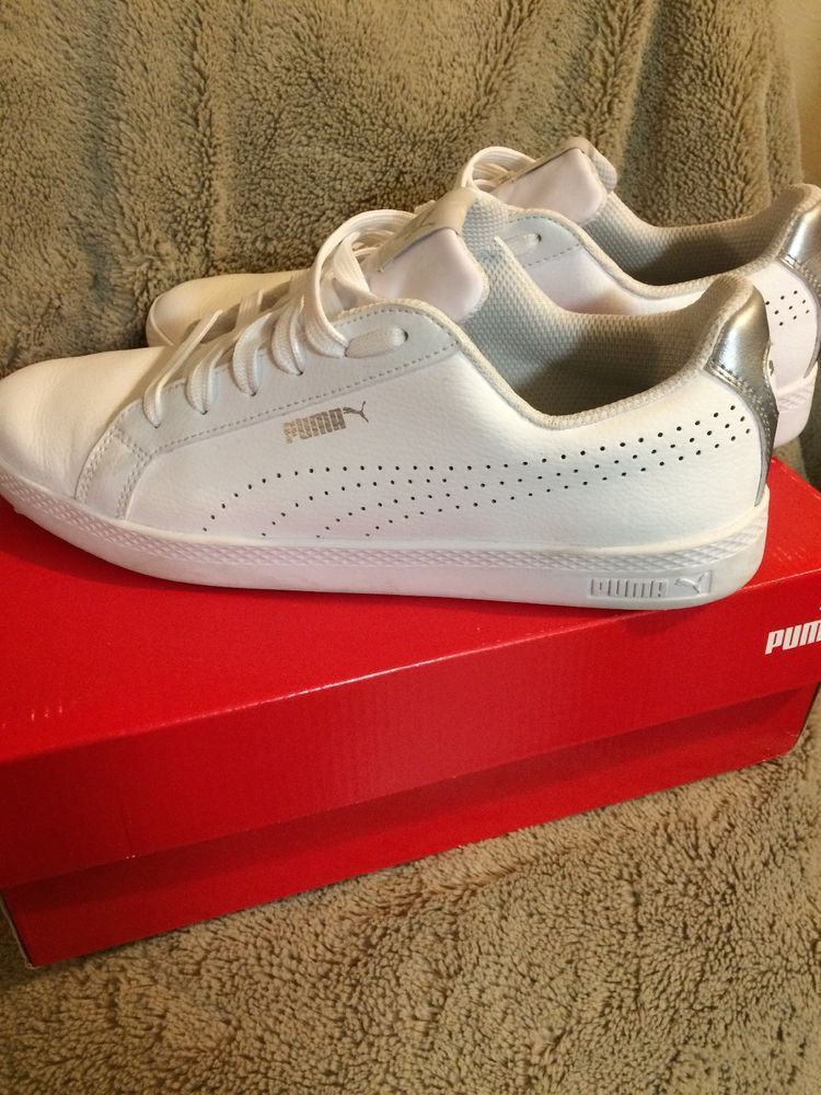 online retailer 9b05e b3929 PUMA Women s Smash Perf Met Athletic Sneakers Size 9.5 White Silver   fashion  clothing  shoes  accessories  womensshoes  athleticshoes (ebay  link)