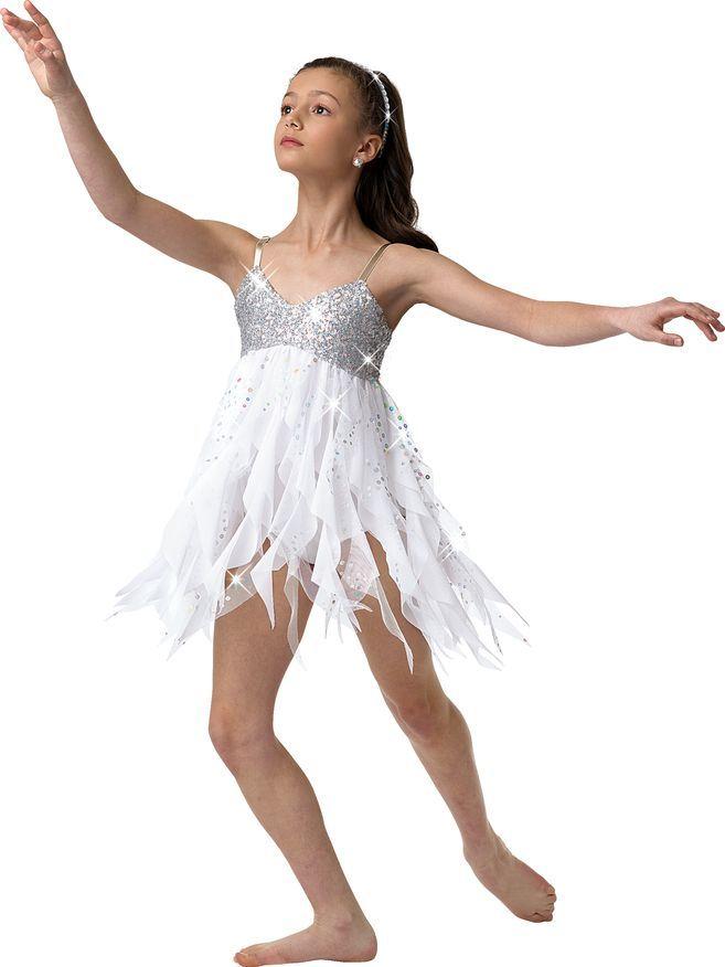 Kids Girls Ballet Lyrical Dance Dress Tulle Leotard Sparkly Snowflake Costume
