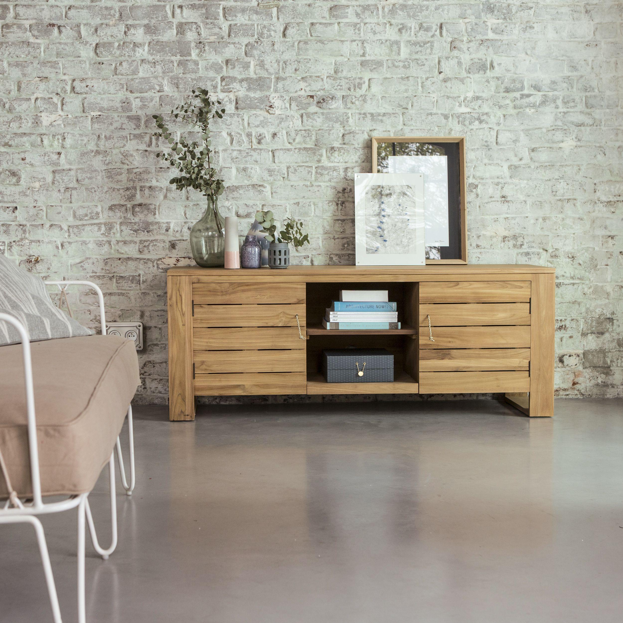 Ce Grand Meuble Tv Latte En Teck Massif Conviendra Votre Salon  # Meuble Tv Plus Table Basse