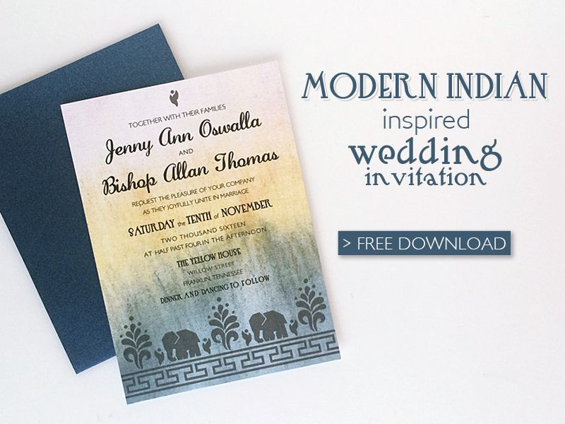 Free Modern Indian Wedding Invitation printable template