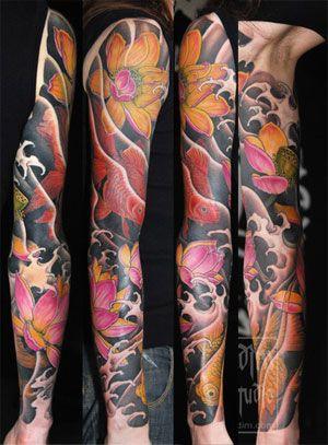 Japanese Sleeve Tattoos Lotus Koi Lotus Japanese Sleeve Tattoo