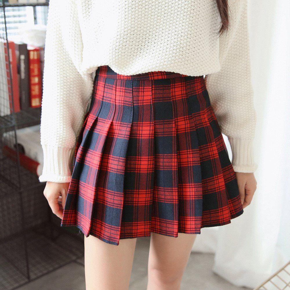 69869b5aa5 Students Grid Pleated Skirt KW1711050 | My Style | Plaid pleated ...