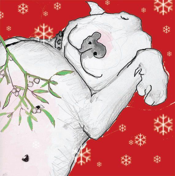 Design 5 English Bull Terrier Christmas Kiss Card Set Of 5