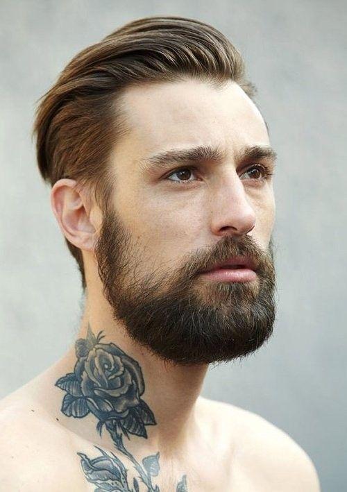 Mens Frisuren Mit Bart Zurückgekämmt Men's Hair Pinterest