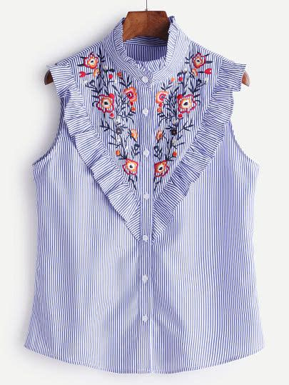 440fbf1aaad00f Striped Button Ruffle Trim Embroidered Blouse -SheIn(Sheinside) Blouse  Online, Ladies Blouses