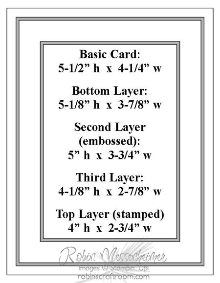Stampin' Up! ... card making sketch ... framed look with matted layers ... measurements included ... by Robin Messenheimer ...