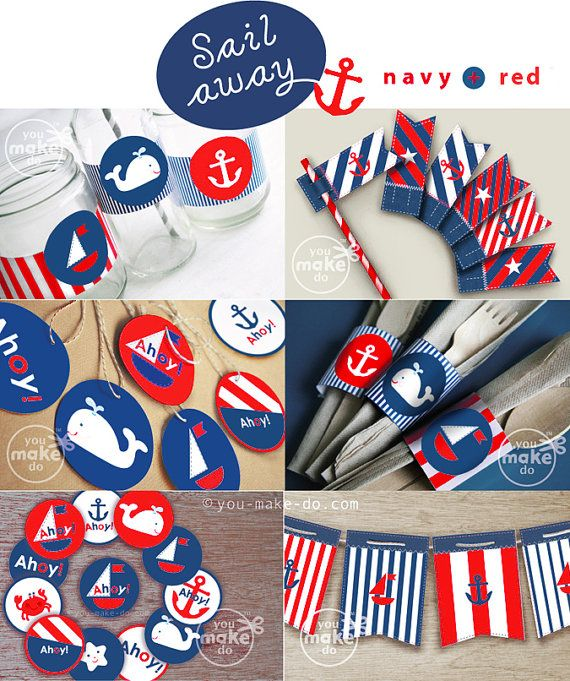 Paper Pinwheels Printables Make Pretty Red And Navy Nautical Party Favors Centerpieces Or Photo Props For A 1st Birthday Cake Smash