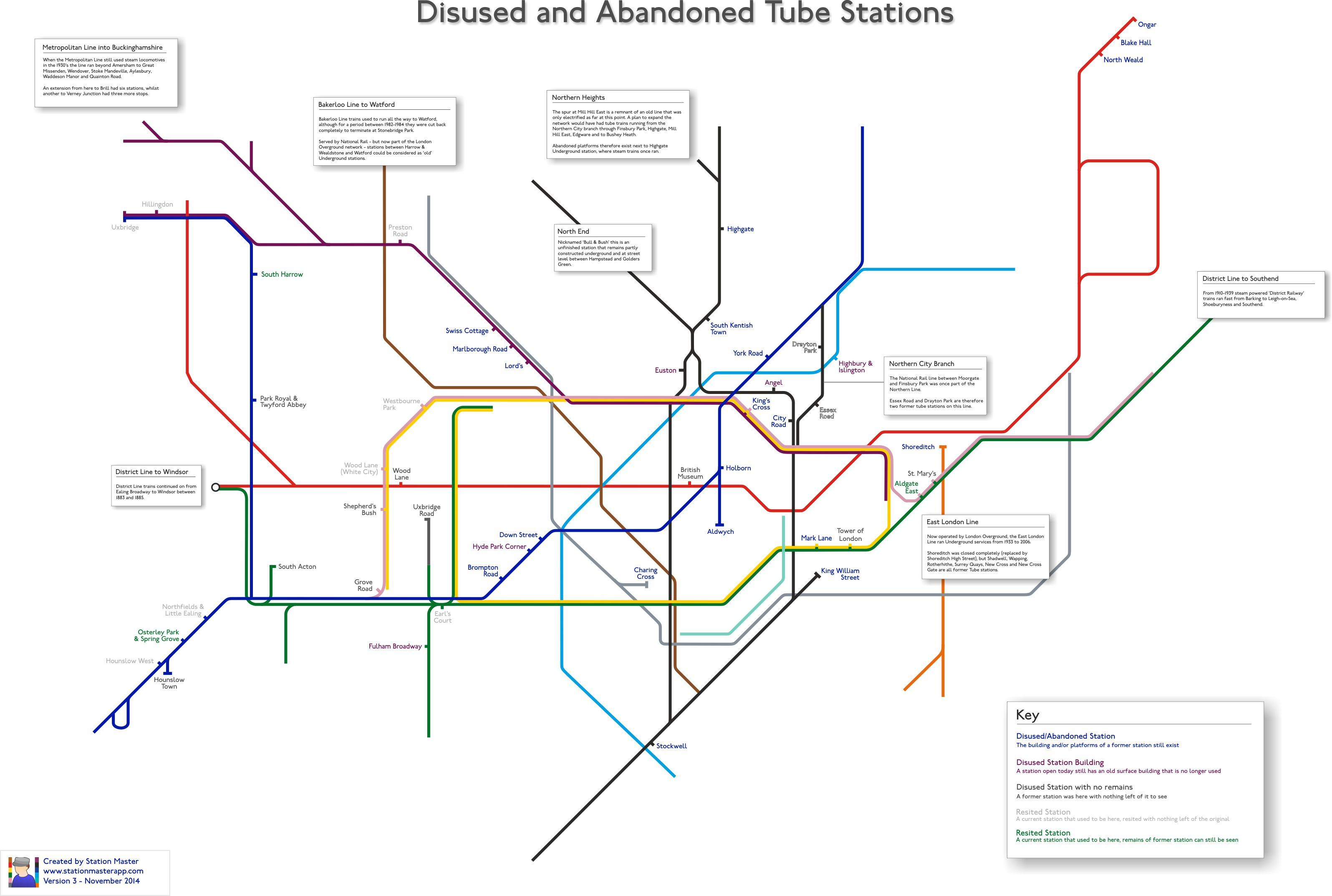 Disused and abandoned London Tube Stations Map Transit