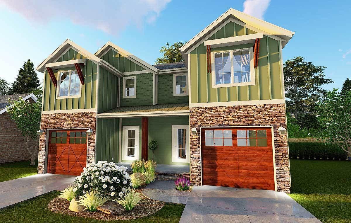 3 Bed Craftsman Narrow Lot Duplex House