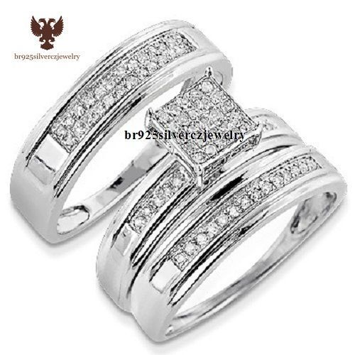 Diamond Trio Set His Hers Matching Engagement Ring Wedding Band 14K