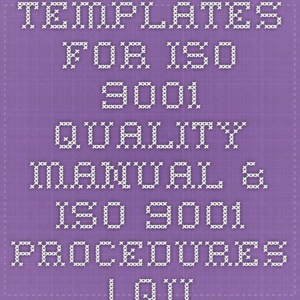 Templates For Iso  Quality Manual  Iso  Procedures