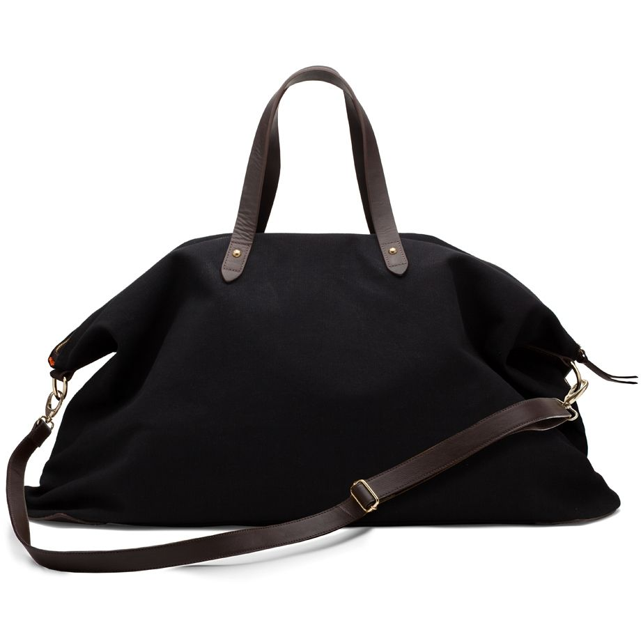 Canvas and Leather Weekender Bag Black