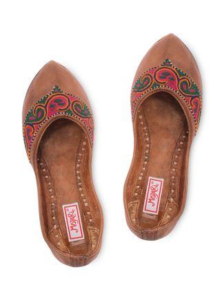 e4514939065 Buy Mojari Flat Multi color embroidered work mojaris Online