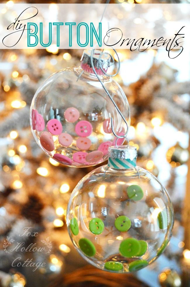 beautiful handmade diy christmas tree ornament made with buttons and washi tape momo - Decorating Clear Christmas Balls