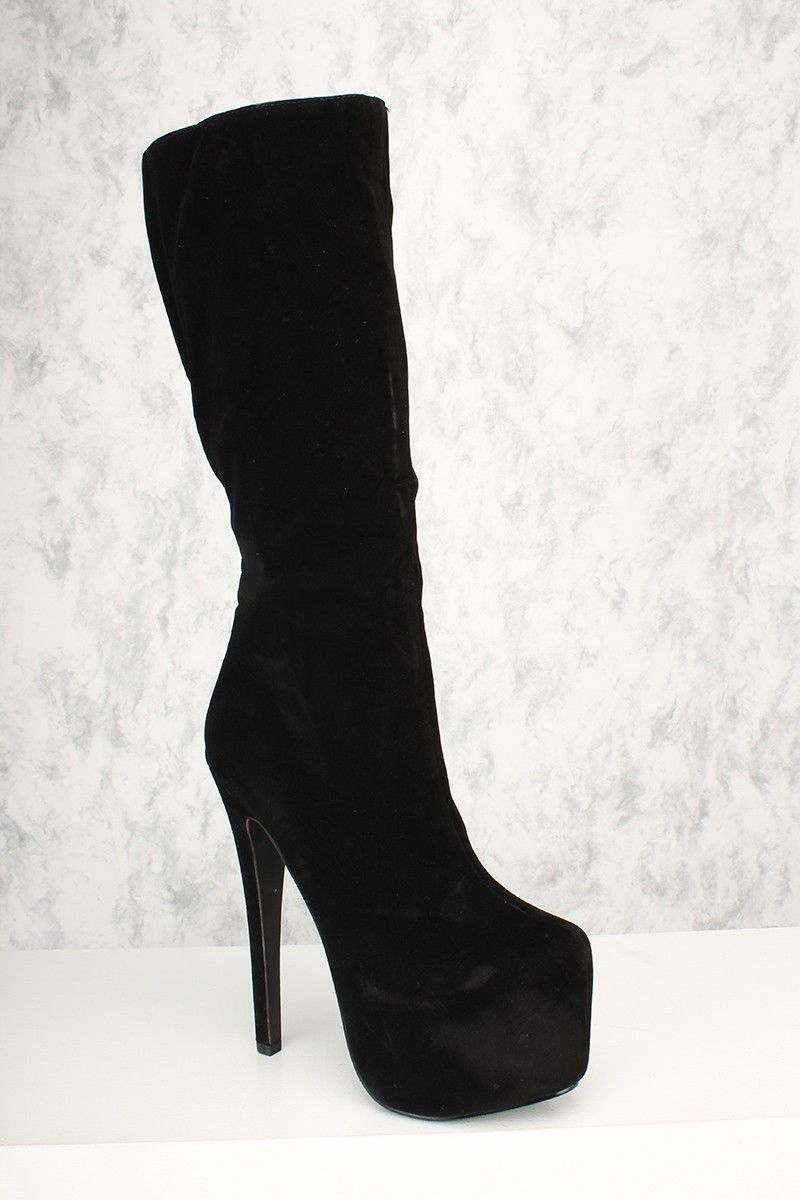 47ce850dbb Buy Black Mid Calf Platform Heel Boots Velvet with cheap price and high  quality Boots stores