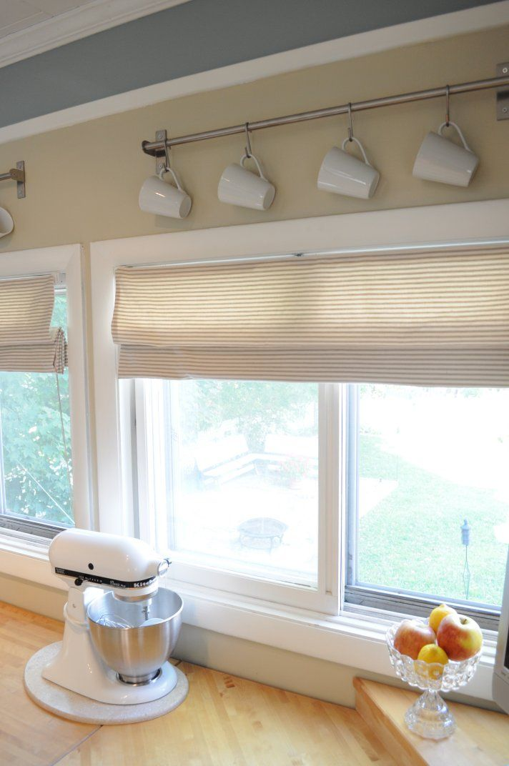 Valances for kitchen windows mini blinds to roman for Best window treatments for kitchens