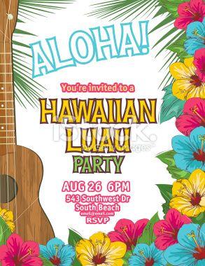 Aloha hawaiian party vertical invitation the invitation has a brown aloha hawaiian party invitation royalty free stock vector art illustration stopboris Choice Image
