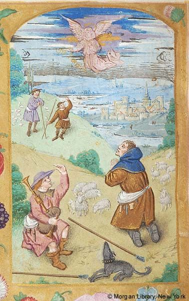 Book of Hours, MS M.116 fol. 54v -  Belgium, Cambrai, 1490-1500 - Shepherds: Annunciation