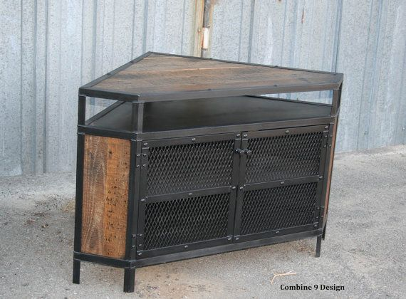Industrial Corner Unit With Reclaimed Wood Tv Stand Urban Etsy Industrial Tv Stand Reclaimed Wood Tv Stand Vintage Industrial Furniture