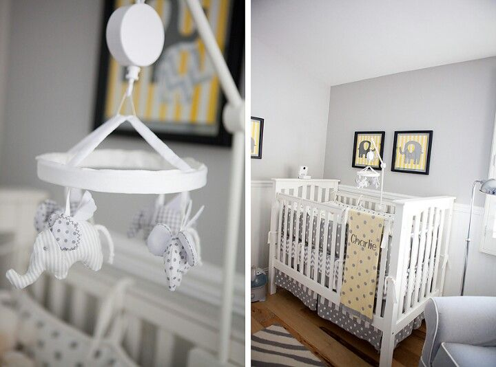 Yellow and Gray Nursery | Elephant baby rooms, Elephant ...