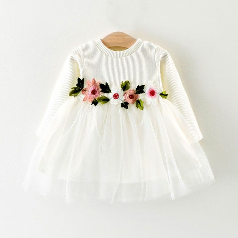 44e52f48f Jersey Cotton Long-sleeve Tutu Dress with Flower Decor Waist for ...