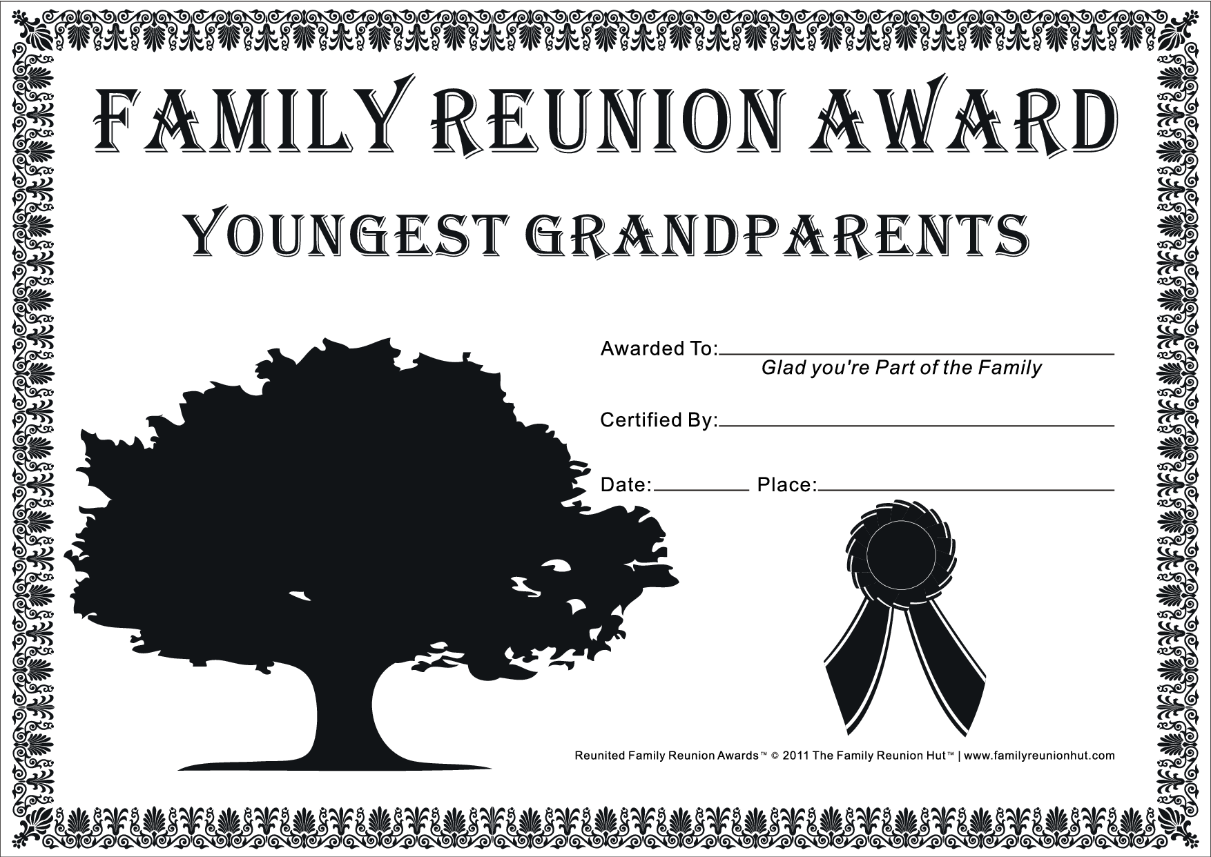 Family reunion games family reunion certificates hope tree 1 is a free family reunion for Free printable family reunion certificates