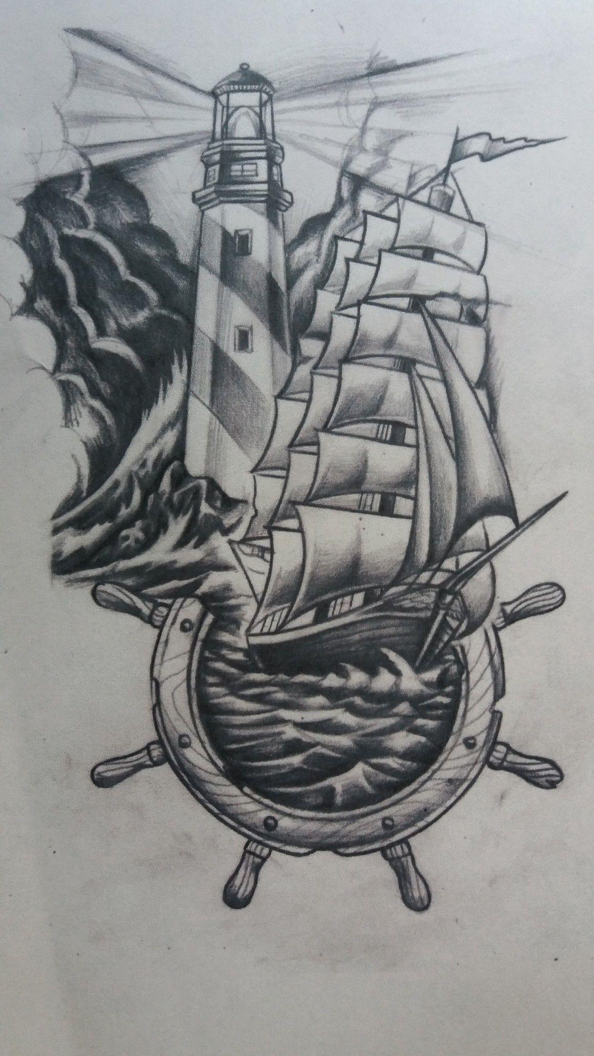 Ship And Lighthouse Tattoo Tatouage Bateau Dessin De Voilier Les Arts