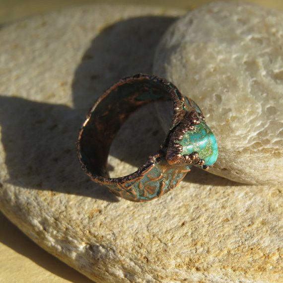 Wide copper electroformed ring with turquoise by LaurelinJewelry