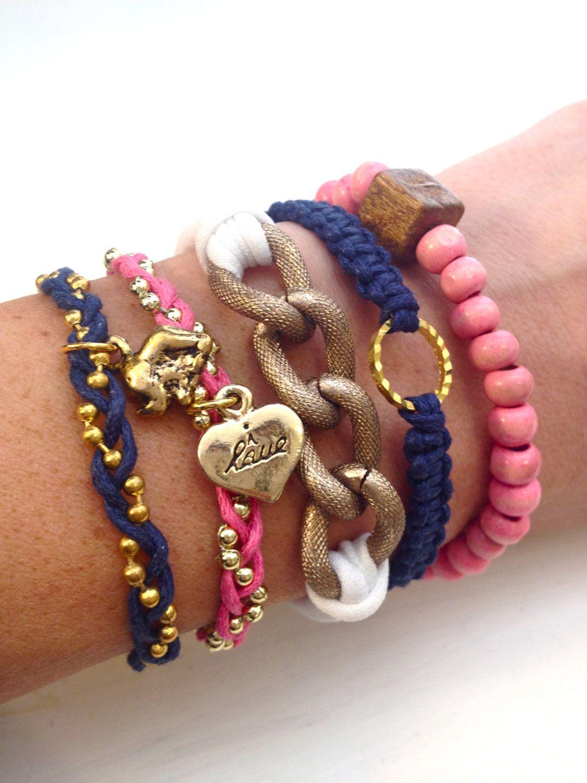 Pink And Navy Arm Candy Bracelet Set Bracelets Bangle Bangles