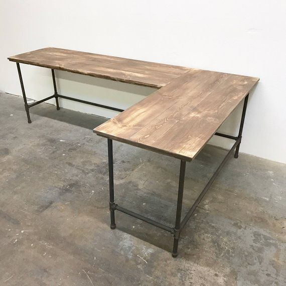 Wayne Corner L Shaped Desk Large Solid Wood Modern Rustic Farmhouse