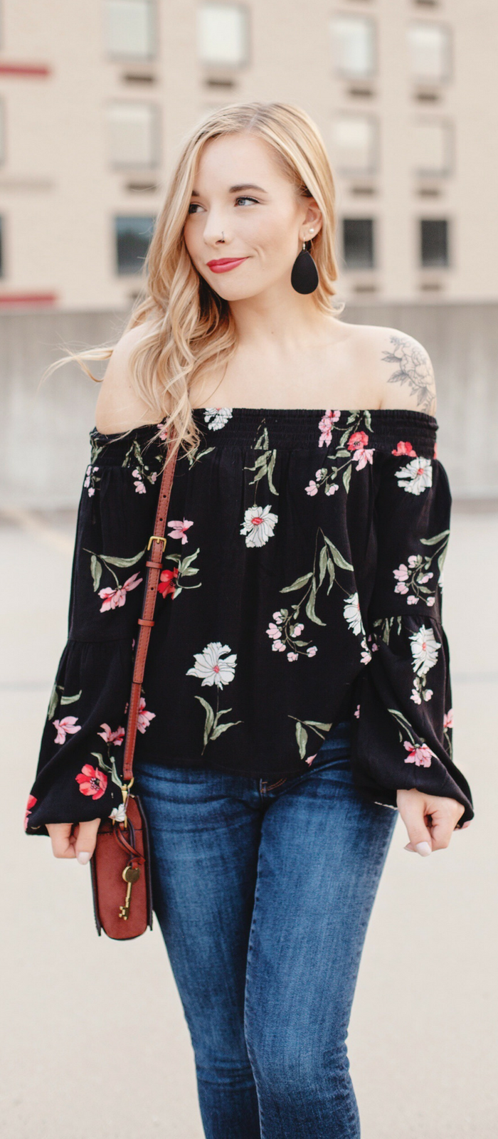 2a6f88a5751b Black Floral Off The Shoulder Top