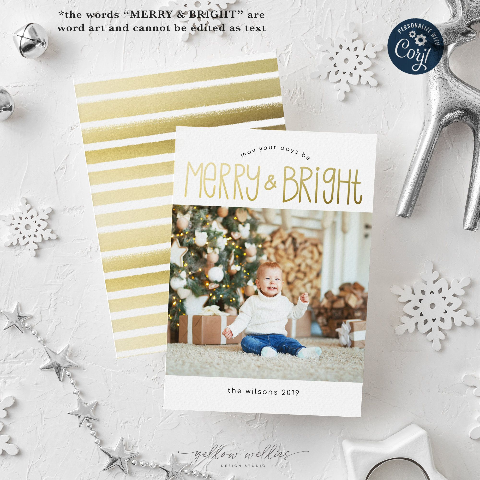 Editable Christmas Holiday Card Template Gold Merry Bright Card Corjl Instant Download Holiday Card Template Christmas Photo Cards Photo Card Template