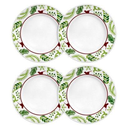 Christmas Plate Set.Love Christmas Plates Corelle Cardinal Dinner Plate Set Of