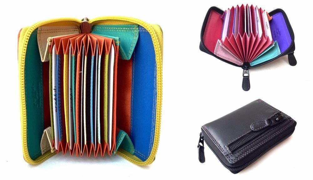 Details about golunski leather multi coloured concertina