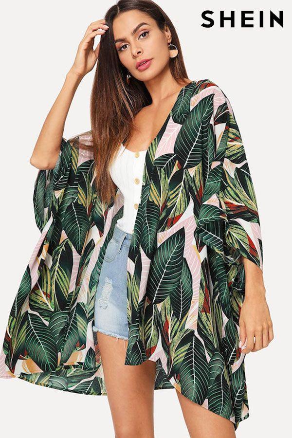 9598f51b9 Jungle Leaf Print Batwing Sleeve Kimono
