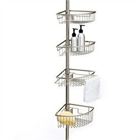 pole shower caddy rust proof stainless steel rust resistant tension pole shower