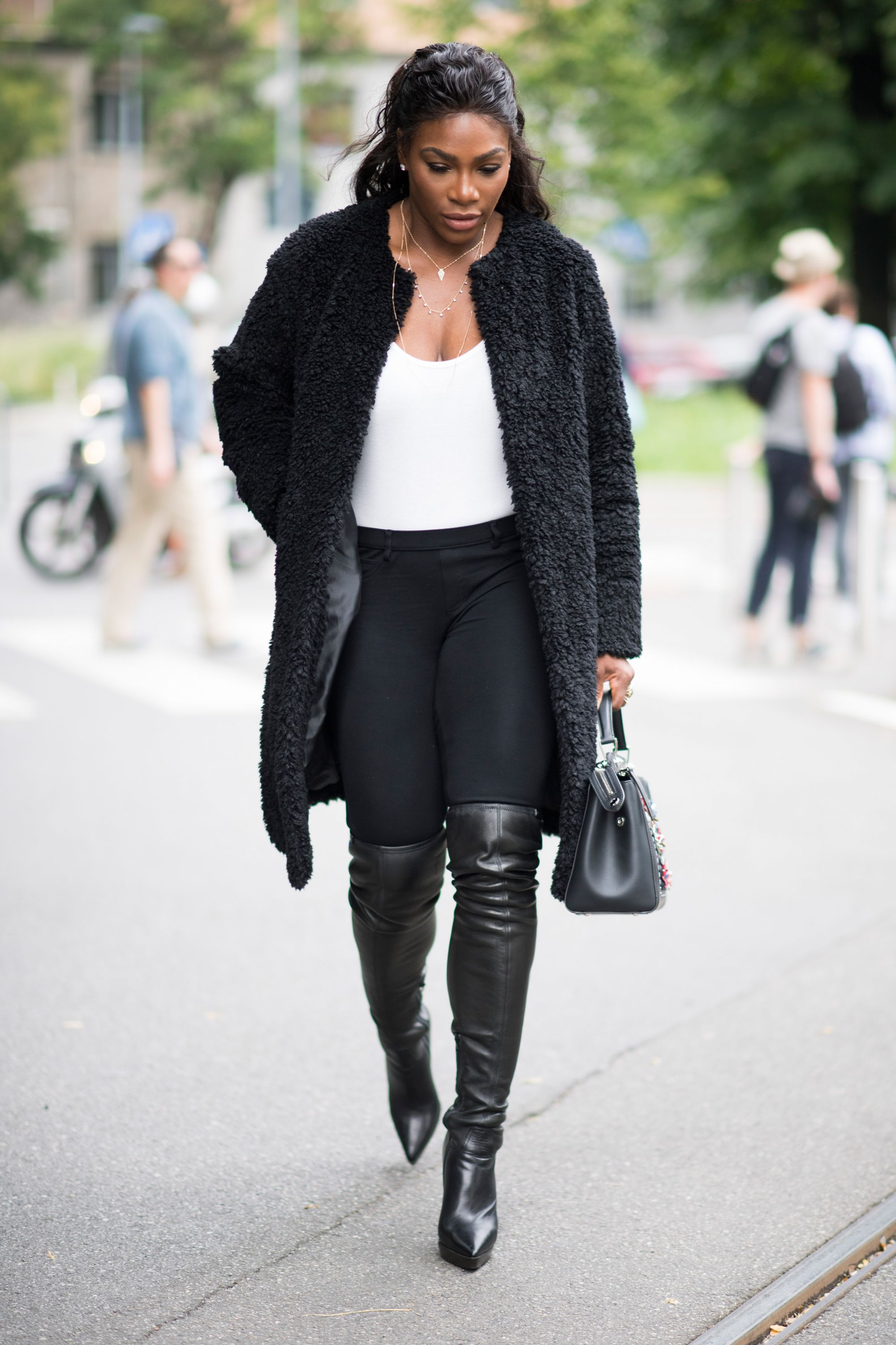 8b7fc5f66b0 All the Best Celebrity Street Style From Milan Fashion Week  Serena Williams,  Gigi, and More