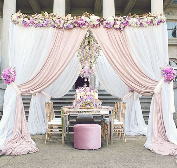 Wedding ceremony arch ideas lavender theme blusk pink for Archway decoration