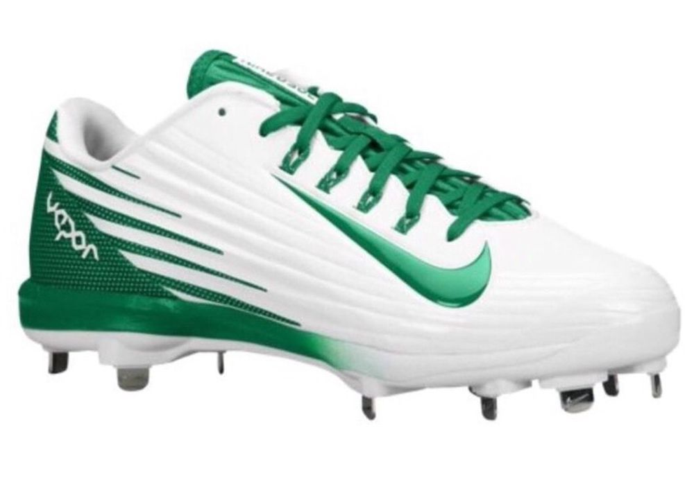 NIKE LUNAR VAPOR PRO METAL BASEBALL CLEATS MENS SIZE 12.5 WHITE /GREEN #NIKE