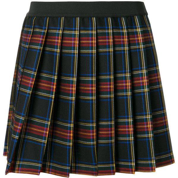 P.A.R.O.S.H. plaid pleated mini skirt (1806230 PYG) ❤ liked on Polyvore featuring skirts, mini skirts, bottoms, plaid, multicolour, pleated miniskirt, short skirt, tartan miniskirts, short mini skirts and colorful skirts