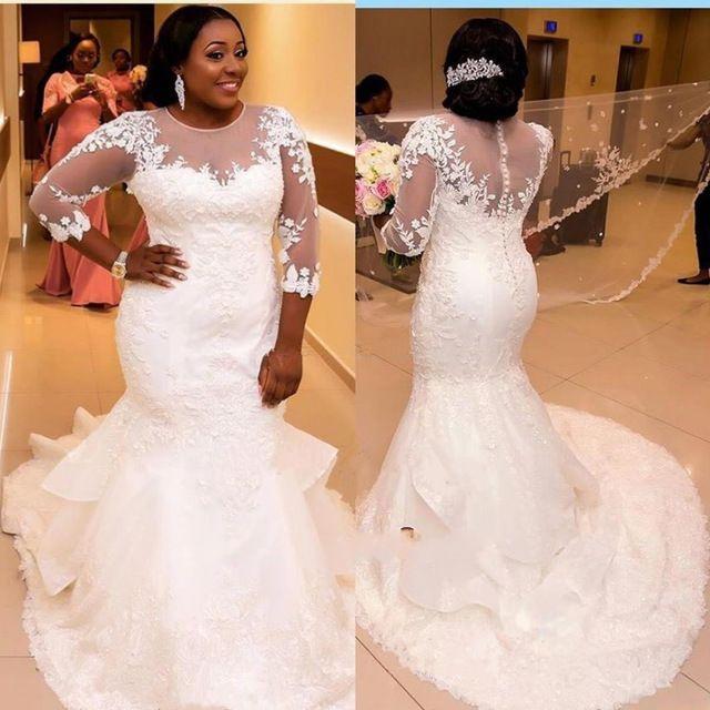 New Arrival Plus Size Wedding Dresses Mermaid Style 3/4 Sleeve ...
