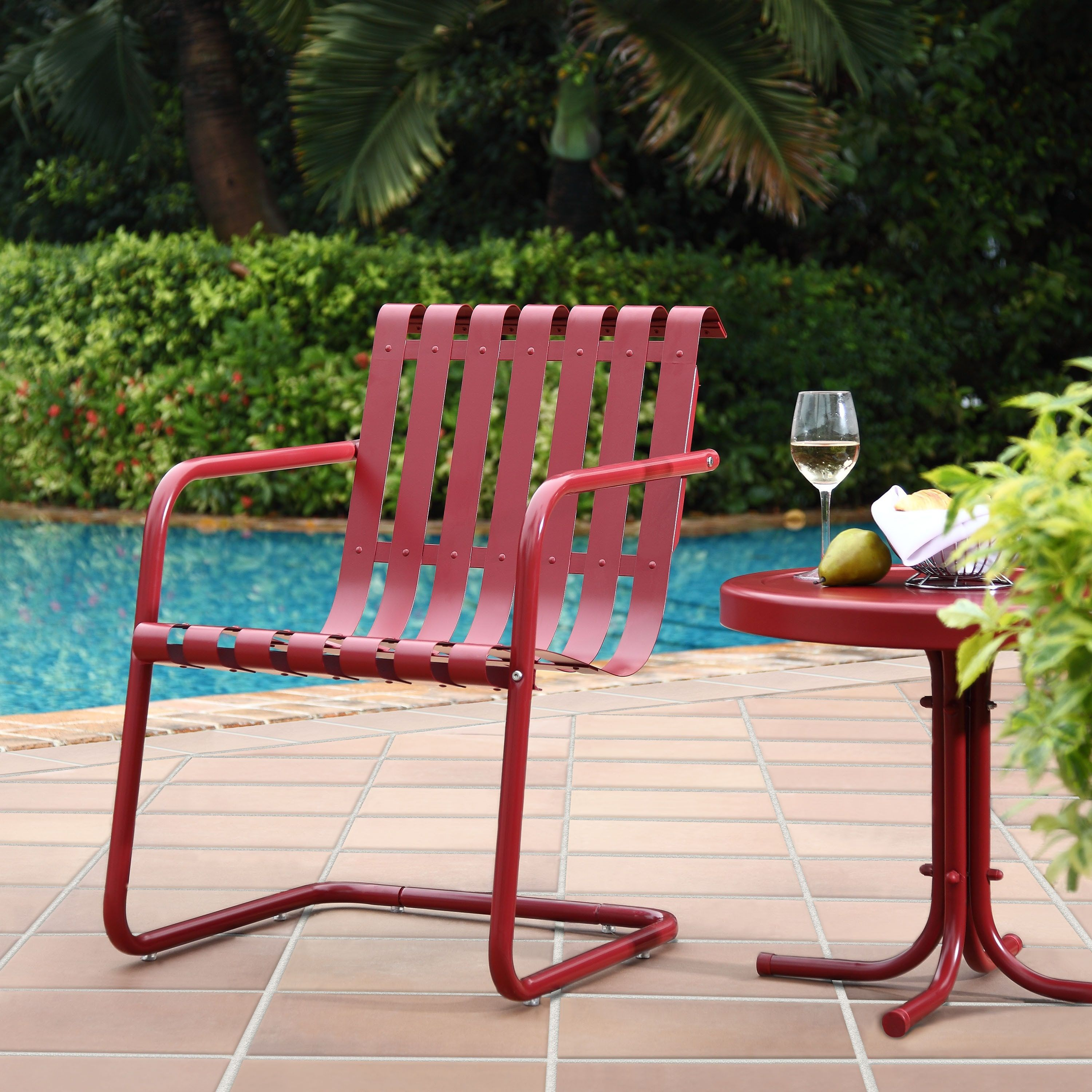 Gracie Red Steel Cantilever Design Chair And Side Table Crosley Furniture Patio Furniture Metal Patio Chairs Buy Outdoor Furniture Outdoor Deck Furniture