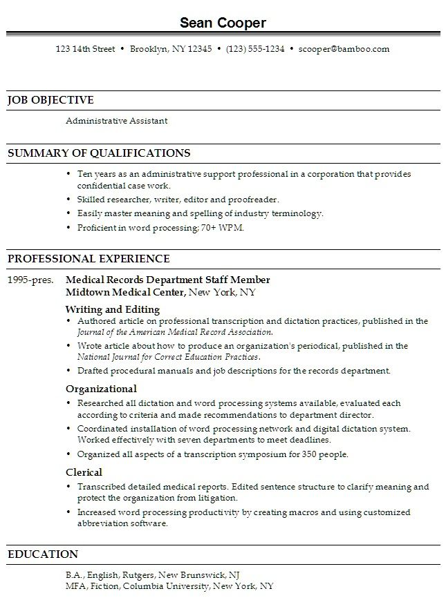 administrative assistant resume objective httptopresumeinfo administrative assistant