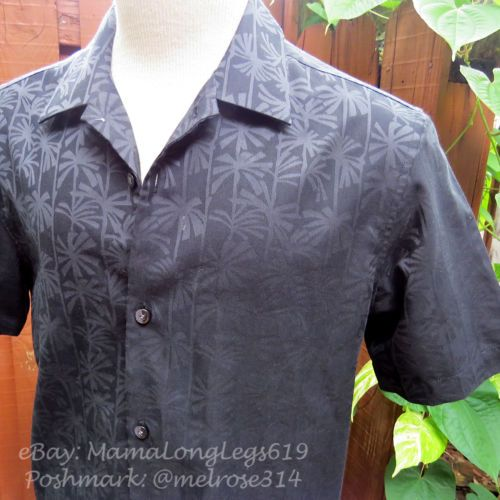 8af7fecbf Tommy-Bahama-Island-Modern-Fit-Linen-Shirt-Sz-S-Black-Palm-Tree-Wedding