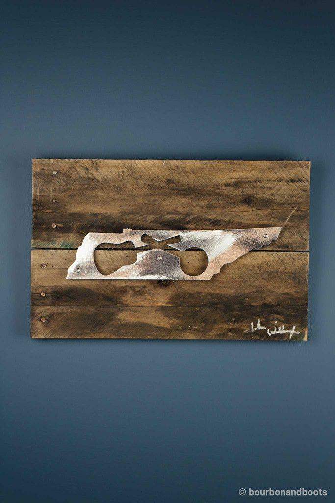 Tennessee music guitar banjo reclaimed wood shaped metal art 85