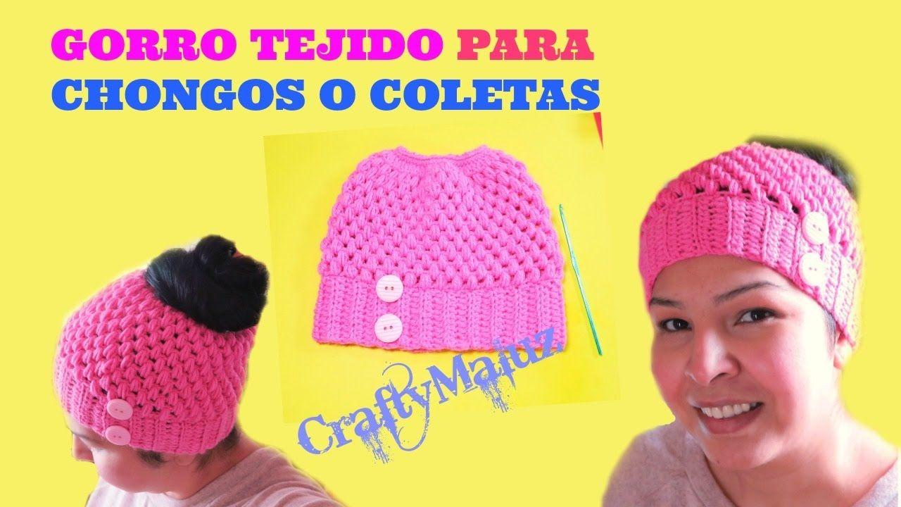 CROCHET | GORRO TEJIDO PARA CHONGOS O COLETAS | gorros a crochet ...