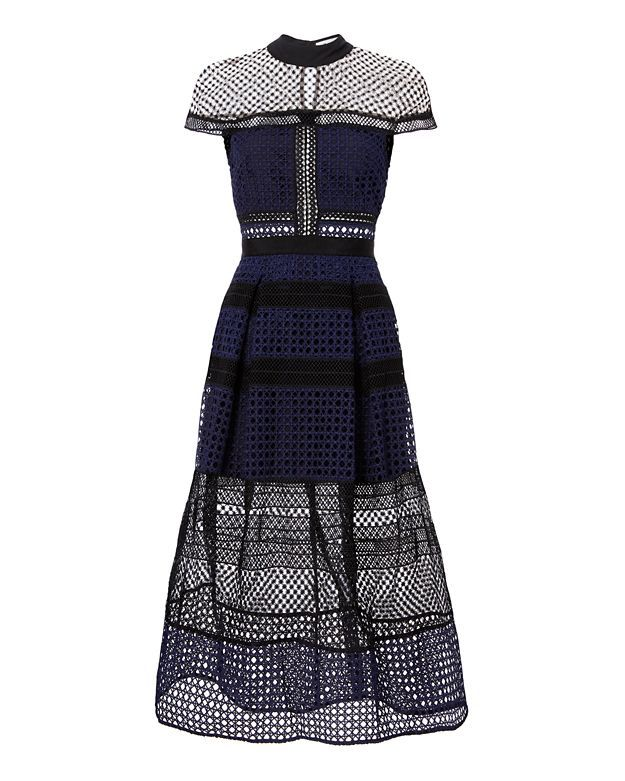 8aafbc062343 Shop the Self-Portrait Lace Paneled Navy Midi Dress   Fall Style ...